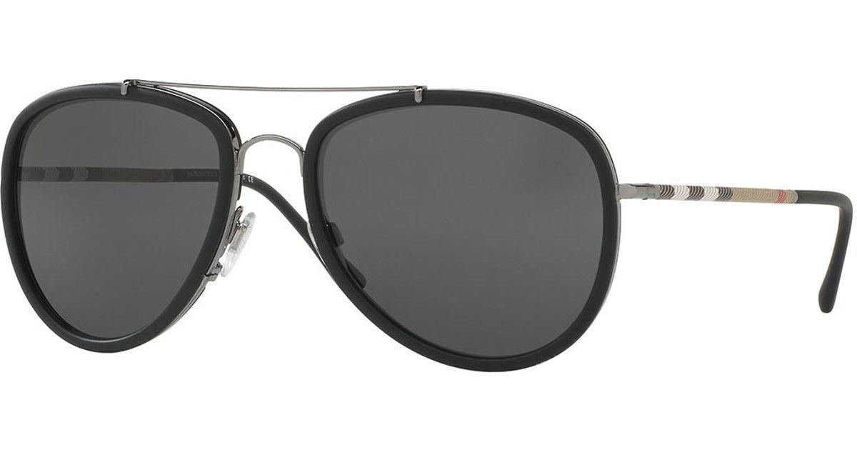 80f8f659b30e Lyst - Burberry Steel Aviator Sunglasses W  Check Arms in Gray