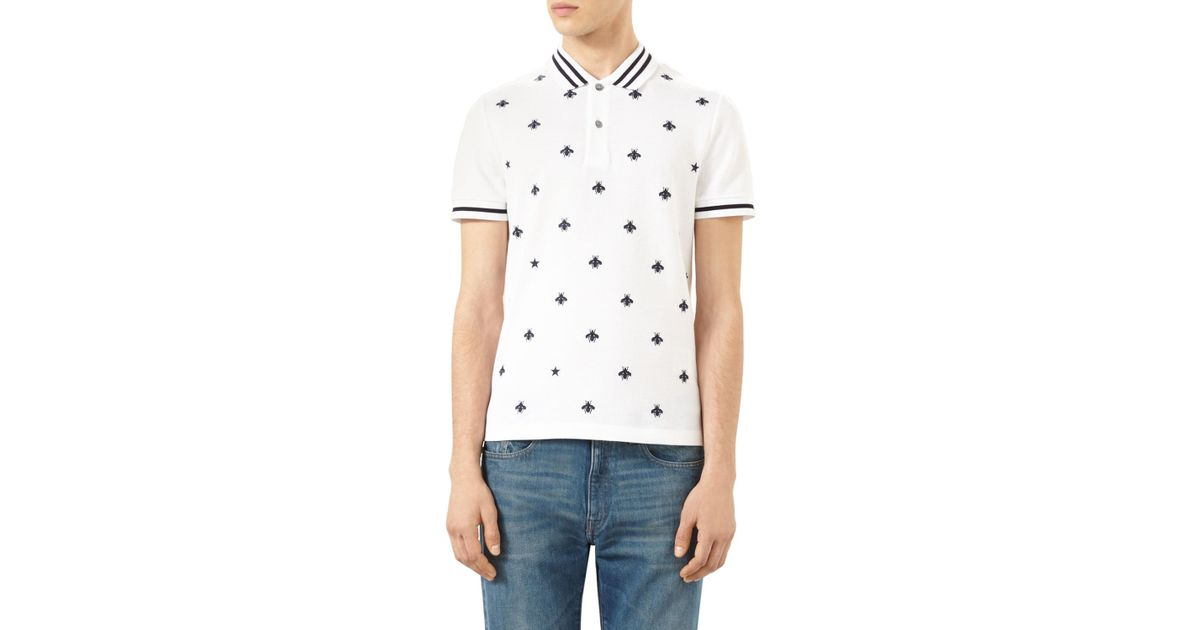 4a11021ffbf Gucci Bee-embroidered Polo Shirt in Black for Men - Lyst