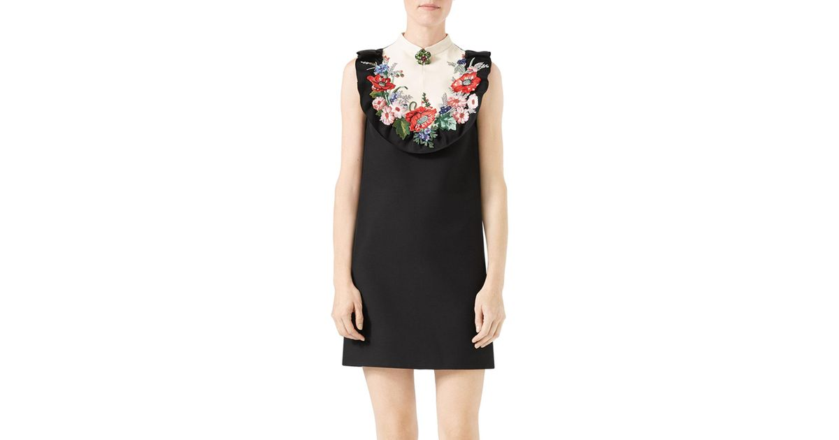 e76bfd9f71c Lyst - Gucci Floral-embroidered Cady Crepe Dress in Black