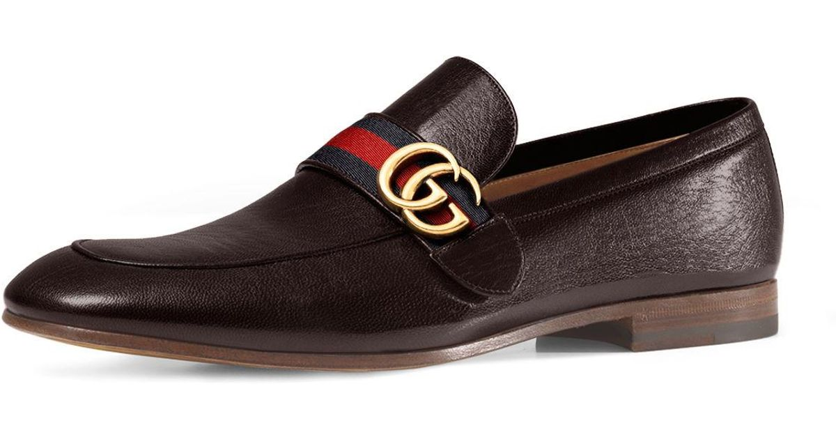 4bd193a98e34 Lyst - Gucci Donnie Web Leather Loafer in Brown for Men
