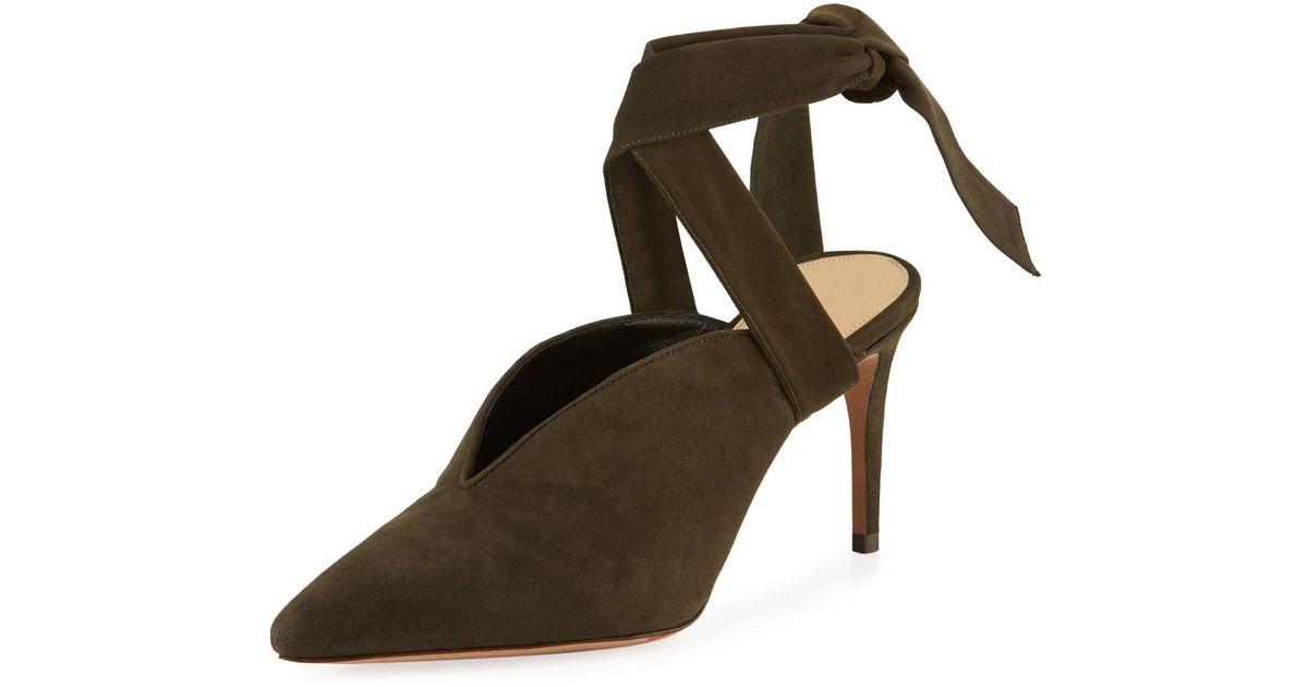 ALEXANDRE BIRMAN Velvet & Suede Sally Ankle Tie Pumps in . euySt