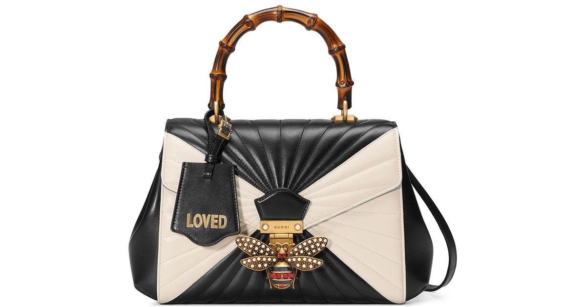 9caeb15f9799 Gucci Queen Margaret Linea Medium Bee Bamboo Top-handle Bag in Black - Lyst