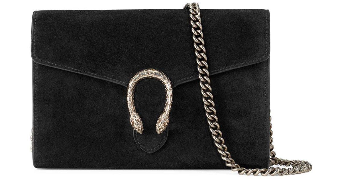 a66dece55a7 Lyst - Gucci Dionysus Suede Mini Chain Bag in Black