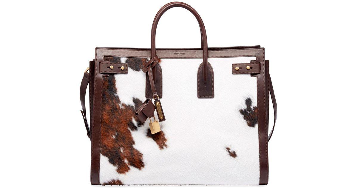 b04f4568f4 Saint Laurent - Multicolor Men's Ysl Tote Bag In Cow Print - Lyst