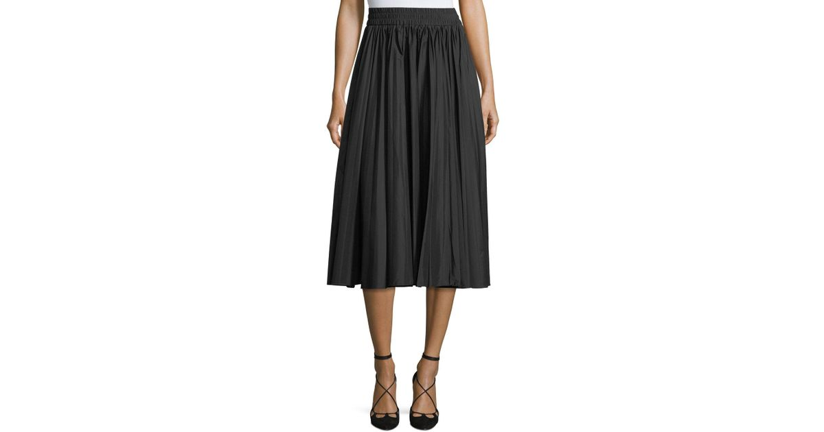 562814d8c6 Lyst - RED Valentino Pleated Stretch-knit Midi Skirt in Black