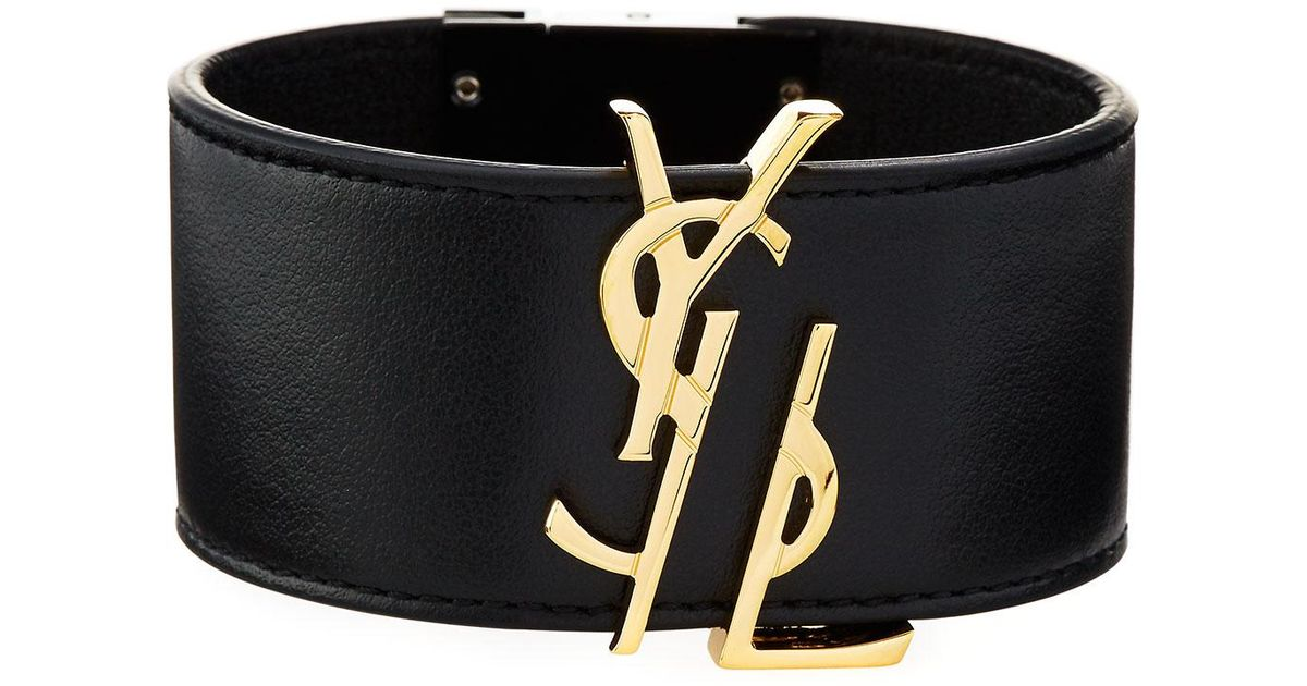 68355ab46c5378 Saint Laurent Ysl Leather Cuff Bracelet in Black - Lyst