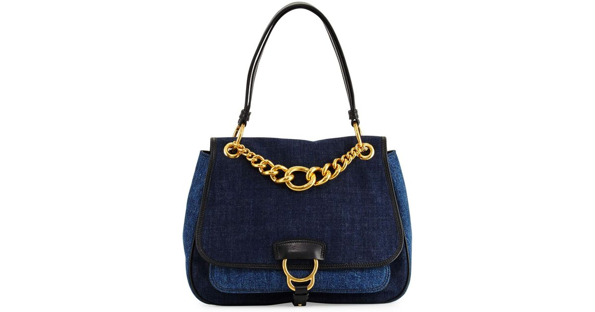 c2ba4e4d5aed Lyst - Miu Miu Dahlia Denim Chain Top-handle Bag in Blue