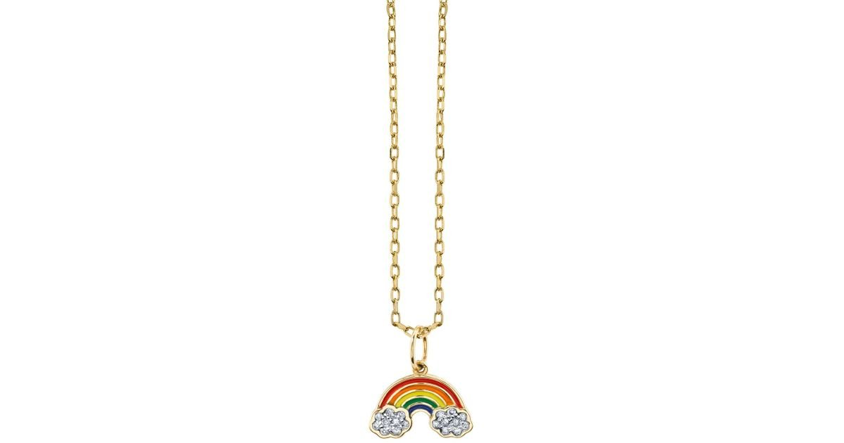 gold rainbow pendant s tone pastel and necklace claire