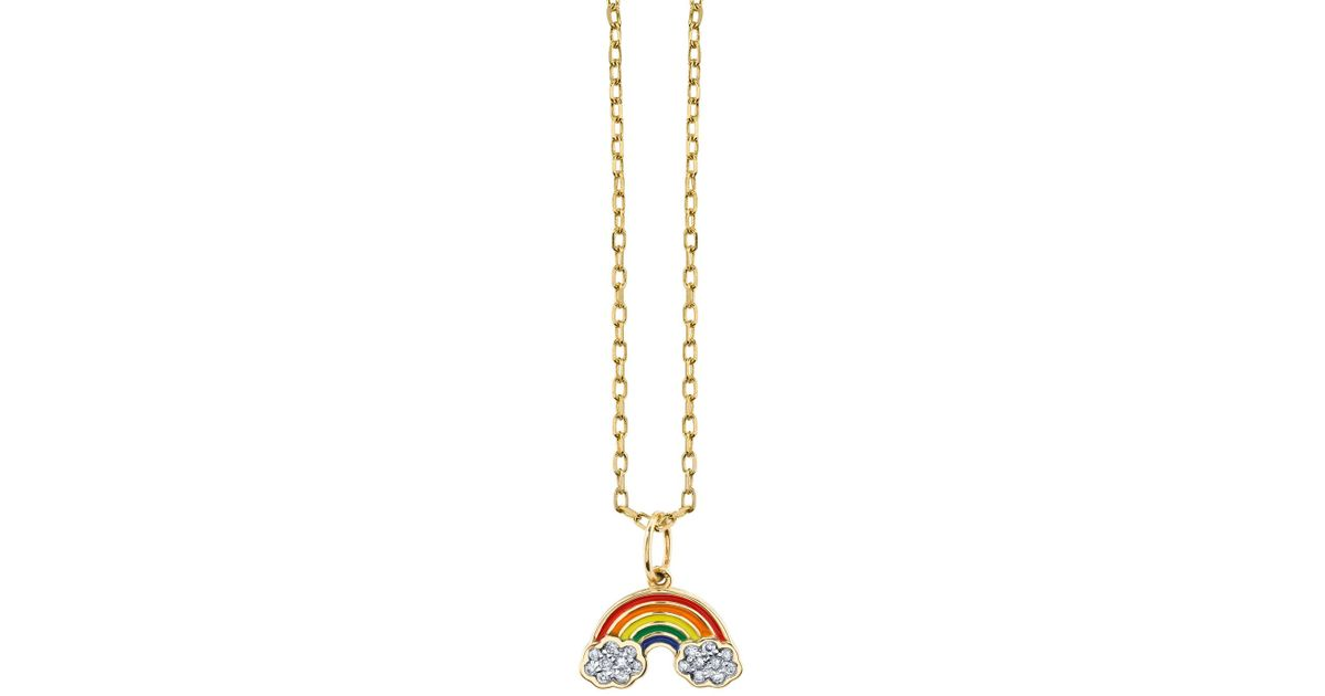 gold girl summer item micro fashion rainbow pendant color necklace design pave
