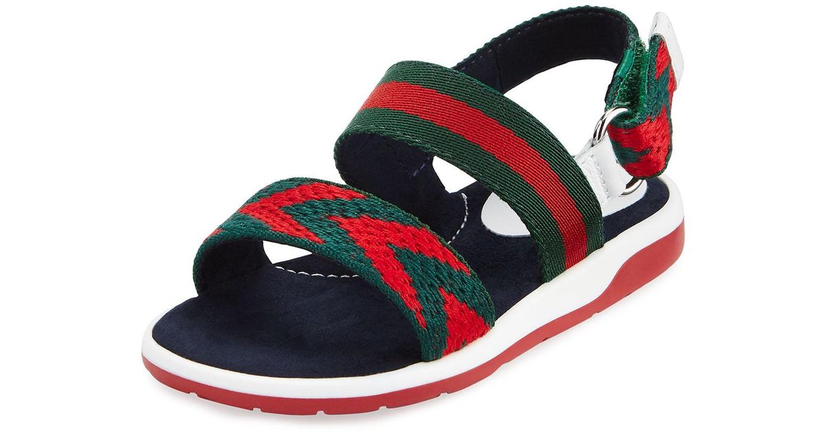 633b8685f Gucci Chevron Leather Sandals in Red - Lyst