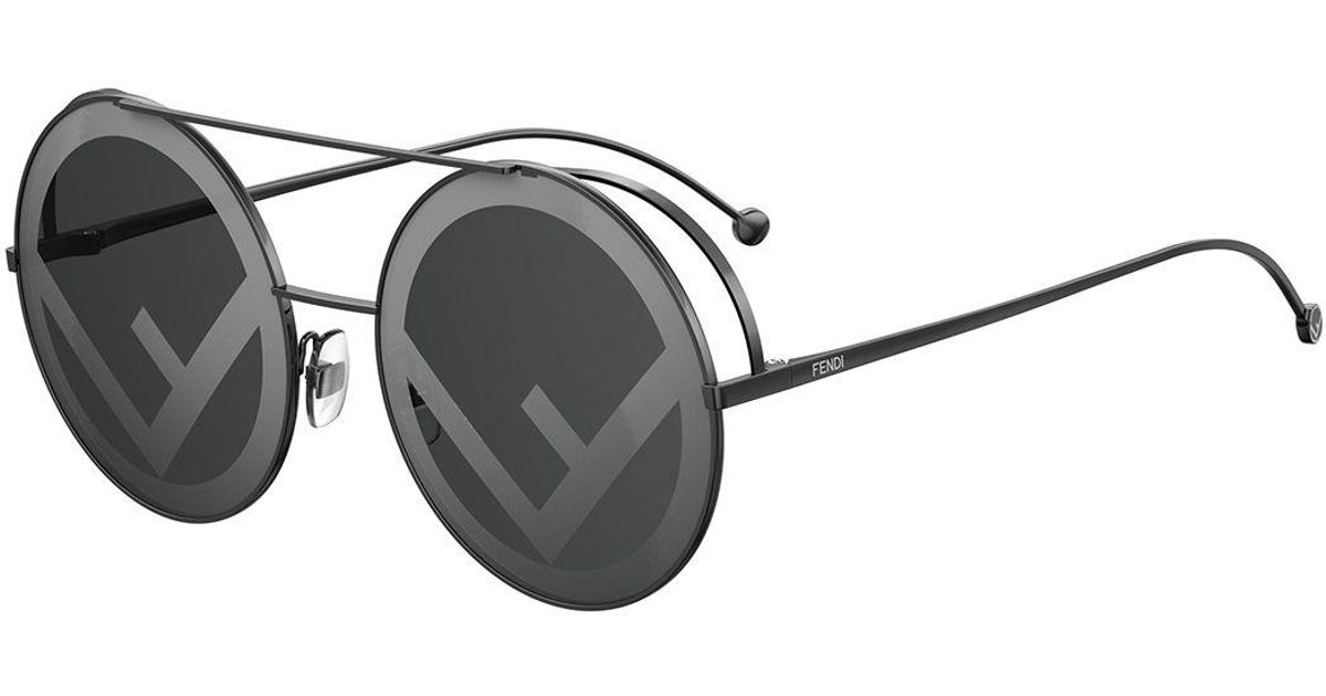 24b36803f7 Lyst - Fendi Round Logo-lenses Sunglasses in Black