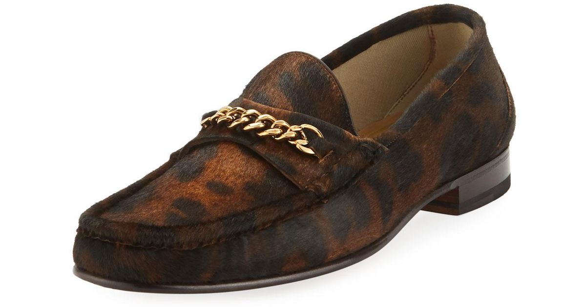 d6ae658c80b Lyst - Tom Ford Leopard-print Pony Hair Chain Loafer in Brown for Men