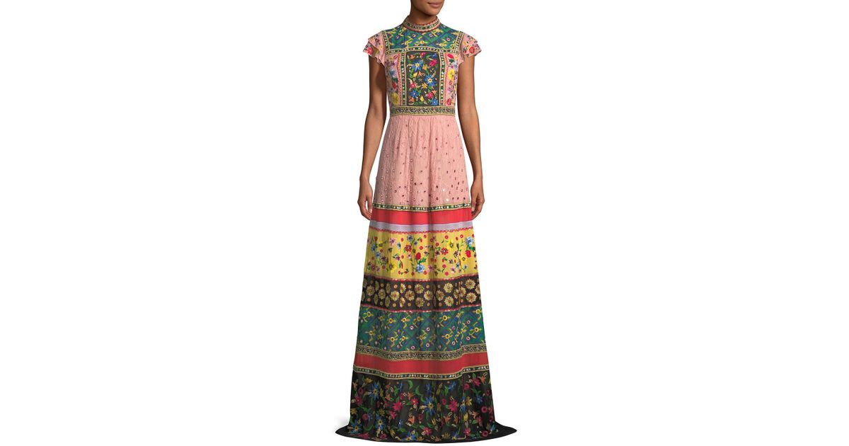 Lyst - Alice + Olivia Arabella Mock-neck Floral-embroidered Evening Gown