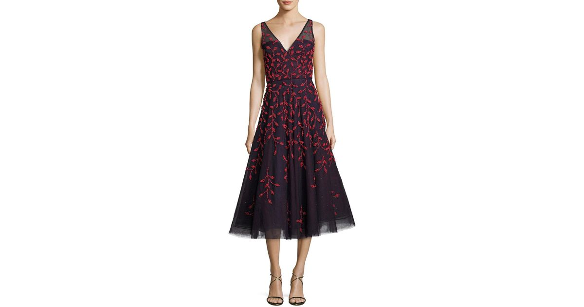 Lyst Oscar De La Renta Embroidered Vine Sleeveless Cocktail Dress