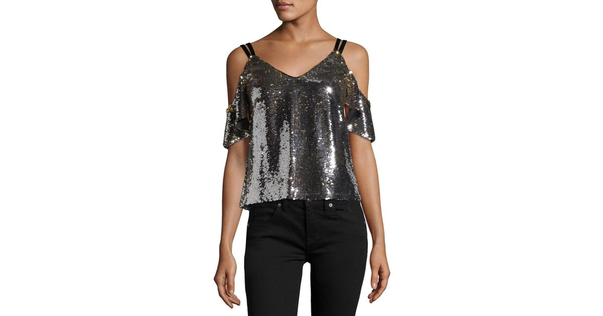 c05b15870fa37a Lyst - Nanette Lepore Cold-shoulder Sparkle Sequin Top in Metallic