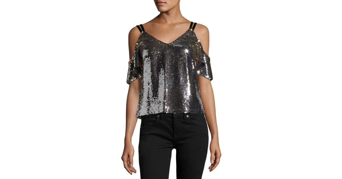 8e7044b939ada Lyst - Nanette Lepore Cold-shoulder Sparkle Sequin Top in Metallic