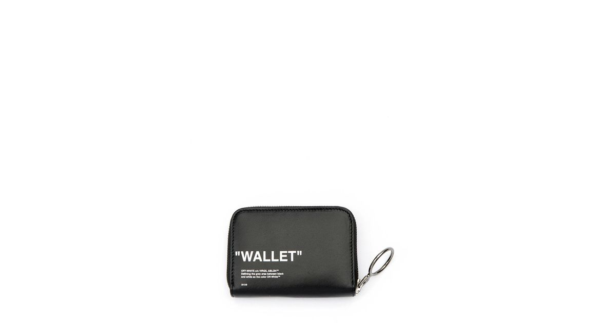 14052a1a6e8f Lyst - Off-White c o Virgil Abloh Quote Medium Grained Zip Wallet in Black