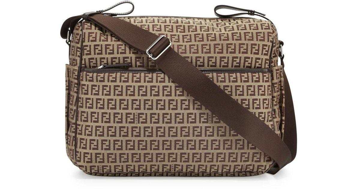 Lyst - Fendi Leather-trim Logo Diaper Bag in Brown 6552662b2a7ac