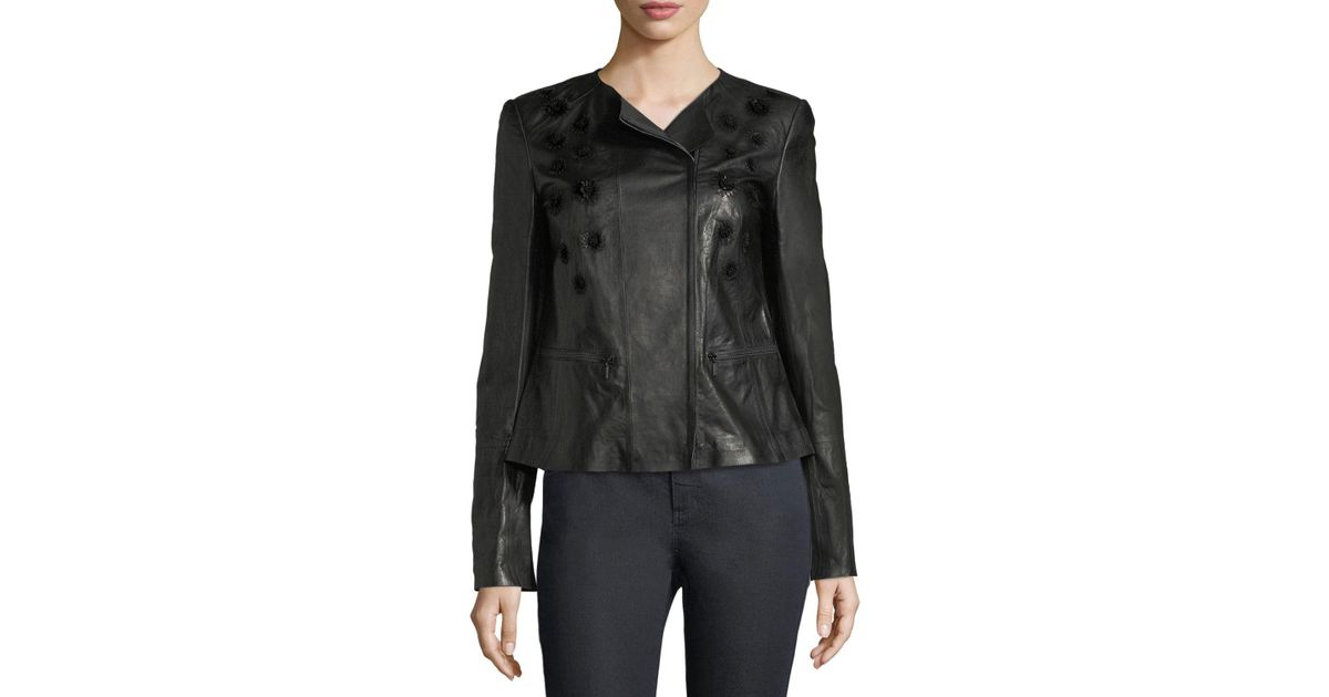 Lyst lafayette 148 new york caridee floral applique leather jacket