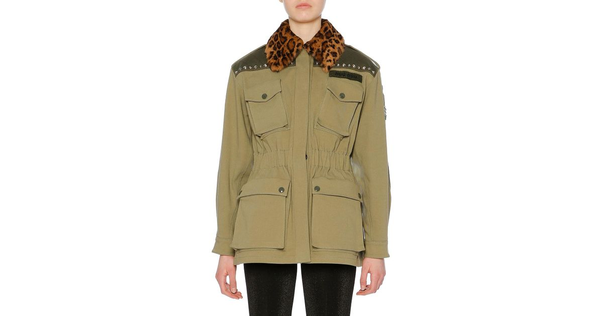 d9b4216f39b Lyst - Miu Miu Leopard-print Fur Collar Cotton Drill Utility Jacket in Green