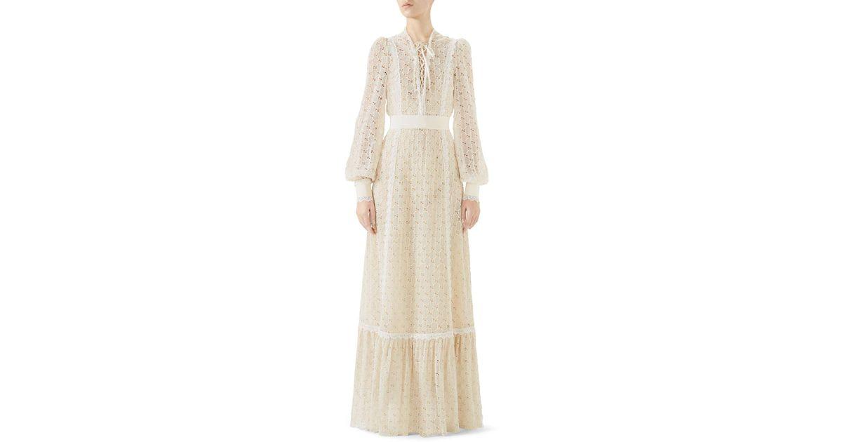b54cf6f44 Gucci Lace-up Long-sleeve Macramé Long Dress in White - Lyst