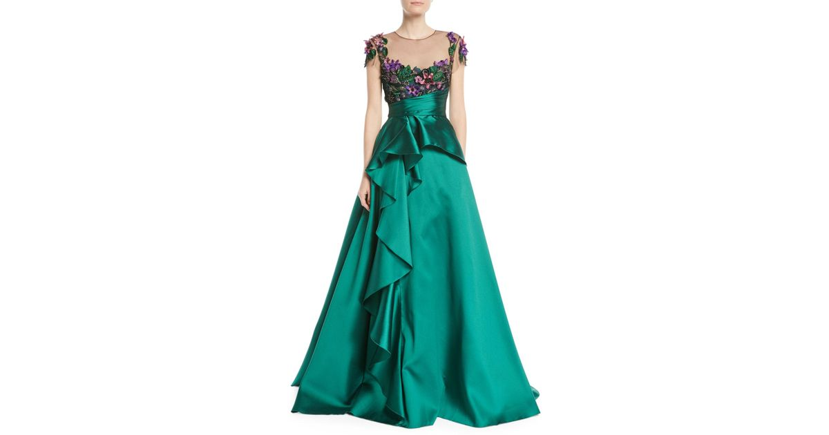 97995a3f Marchesa notte 3d Floral Embroidered Ball Gown W/ Cascade in Red - Lyst