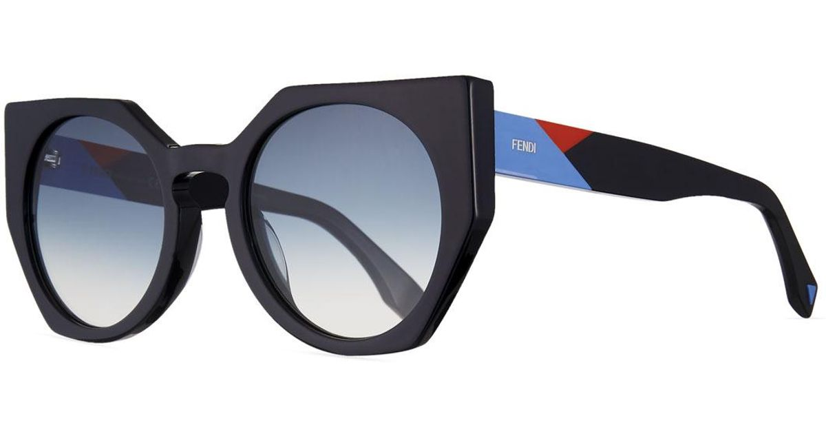 Geometric Tricolor Arm Fendi Lyst Multicolor Gradient Sunglasses T1ulF3KJc