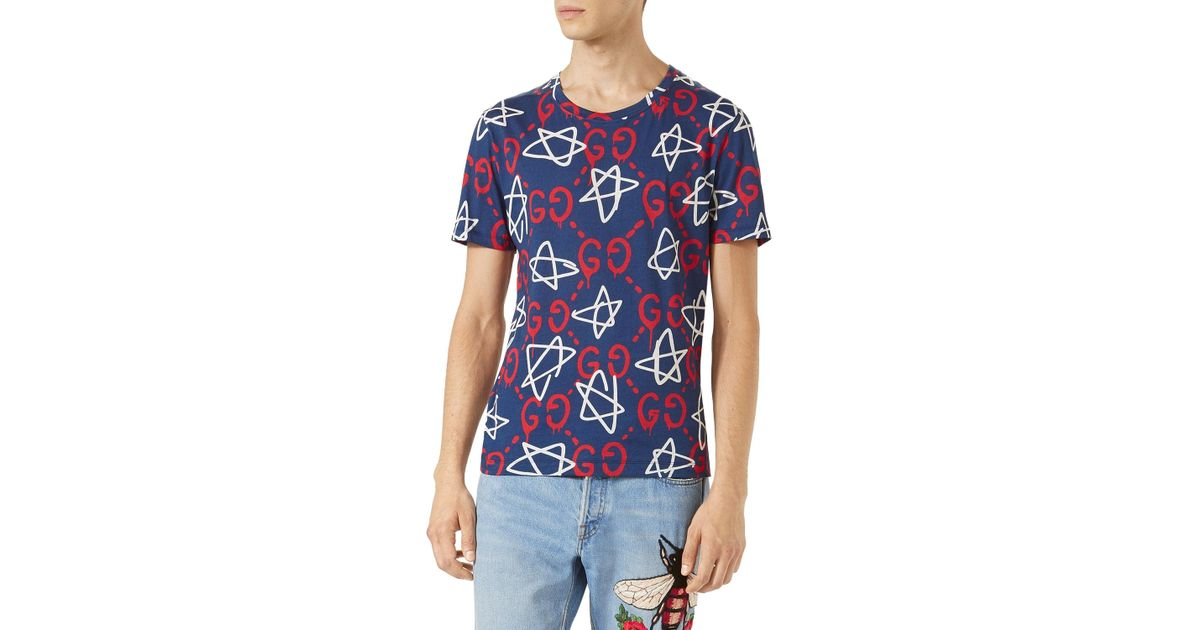 49a64957 Gucci Ghost-print Crew-neck T-shirt in Blue for Men - Lyst