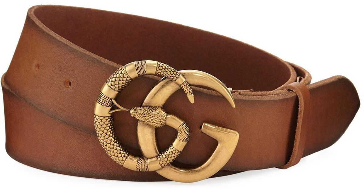 60916e93b8d Gucci Brown Cuoio Toscano Snake Gg Belt For Men Lyst