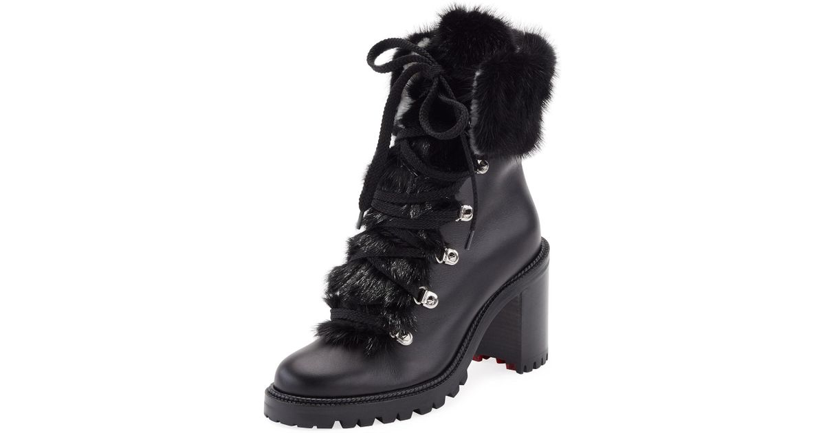 30f2c634452 Lyst - Christian Louboutin Fanny Leather Fur-trim Red Sole Combat Boot in  Black