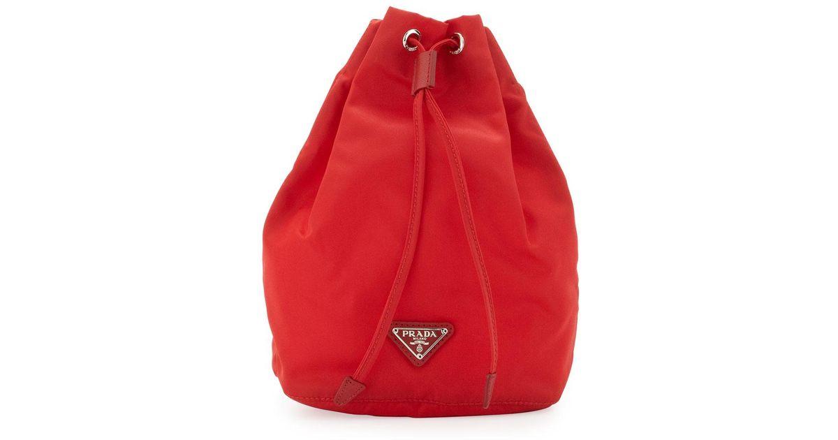 f6757e490bd727 Lyst - Prada Vela Drawstring Pouch in Red