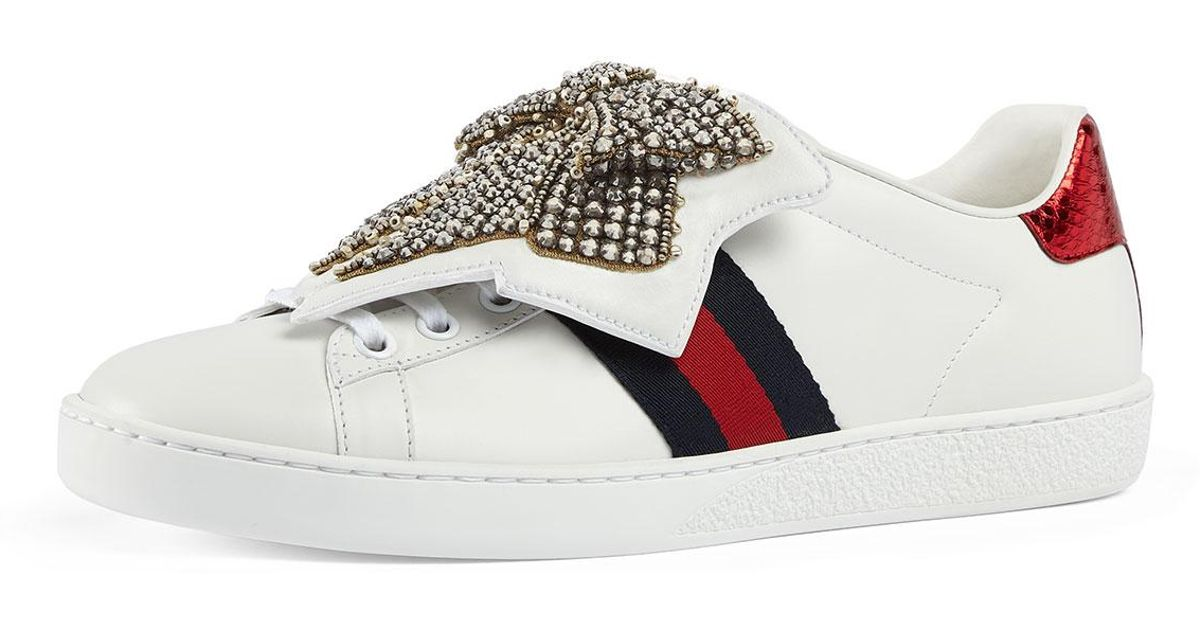 44b8b0d4813 Lyst - Gucci New Ace Crystal Bow Sneakers in White