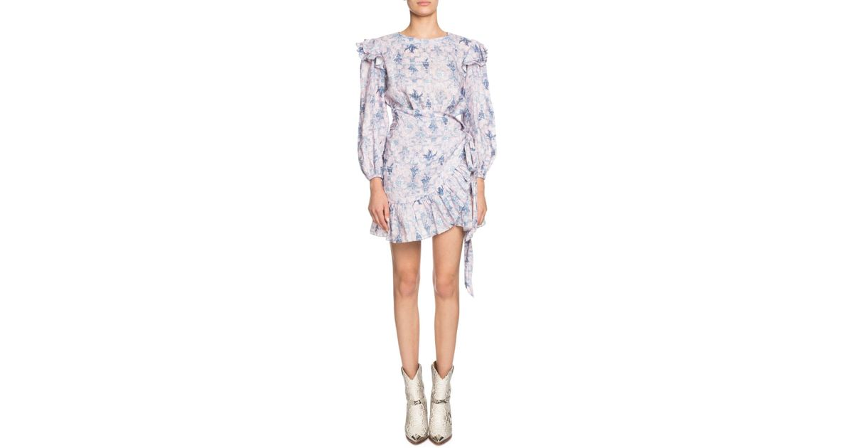 2e2055c33e Lyst - Étoile Isabel Marant Telicia Printed Linen Ruffle Belted Dress in  Blue