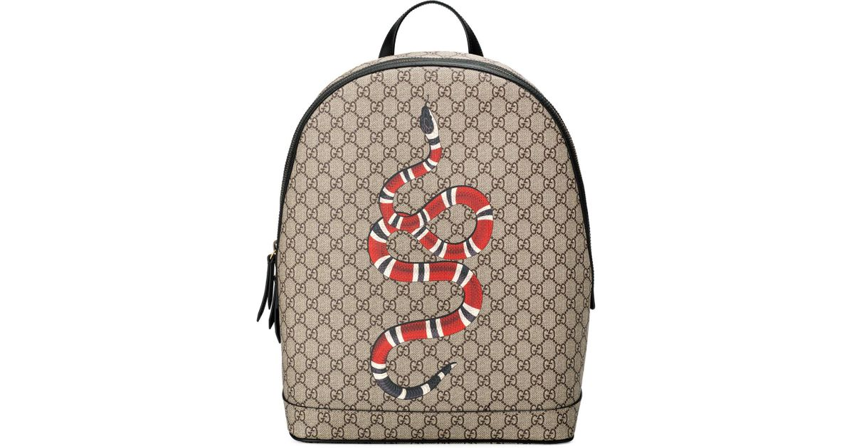 a0583e9972e4 Gucci Snake-print Gg Supreme Backpack in Natural - Lyst