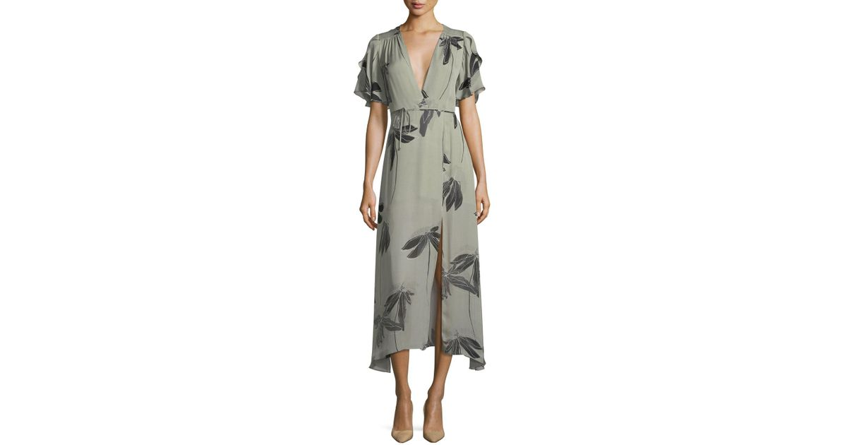 ef006dd16d26 Halston Flutter-sleeve Printed Silk Faux-wrap Dress in Gray - Lyst