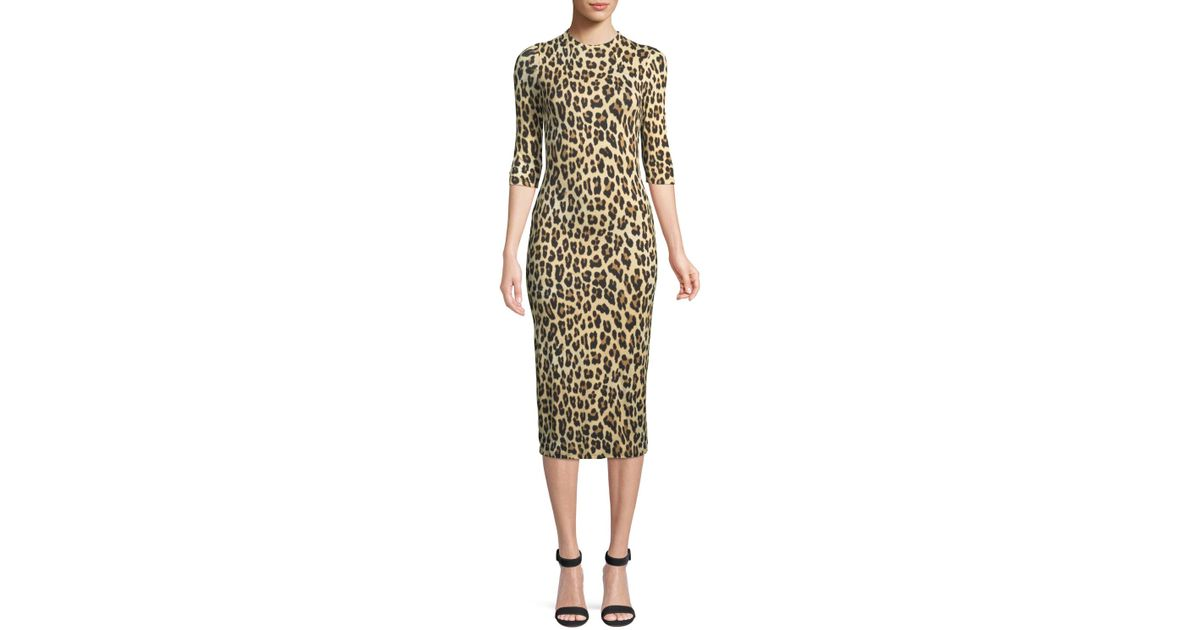d7c1d78a72 Alice + Olivia Delora Fitted Leopard Mock-neck Dress in Metallic - Save 43%  - Lyst