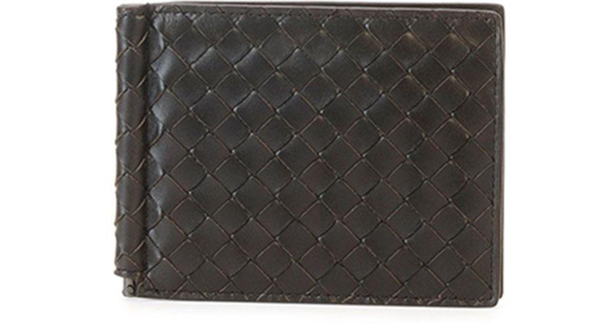0ba91e66b6 Lyst - Bottega Veneta Basic Woven Wallet With Money Clip in Black for Men