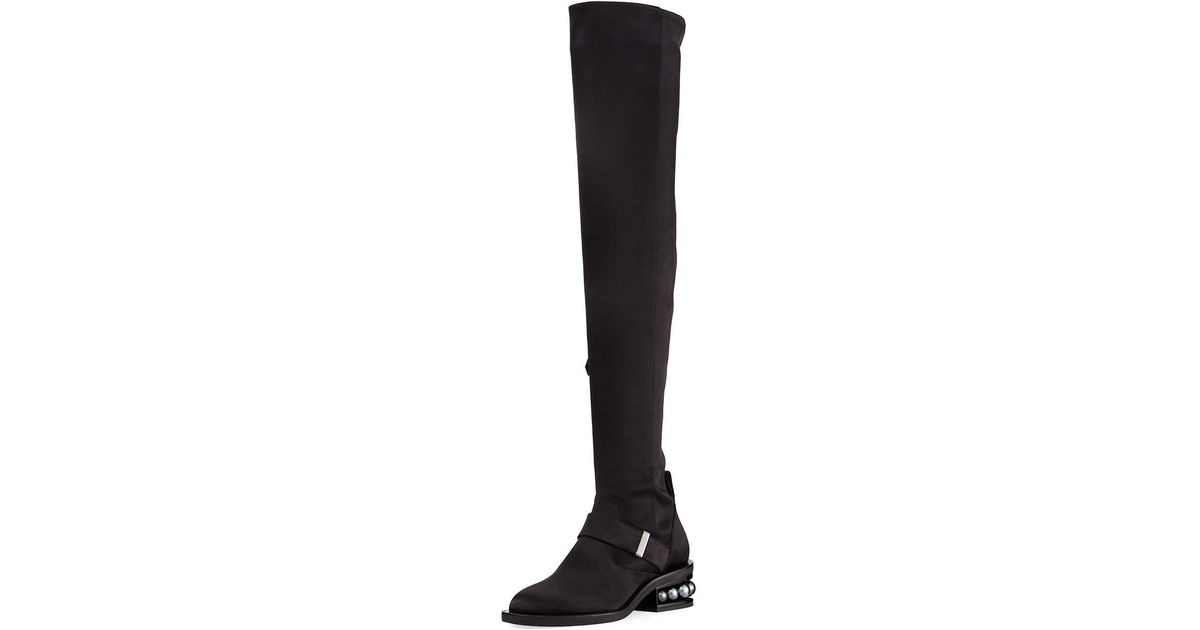 644b71e4282 Lyst - Nicholas Kirkwood Casati Satin Over-the-knee Boot in Black