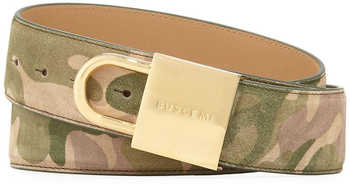 bccc2efe863ce Buscemi Camouflage-print Lock-buckle Leather Belt for Men - Lyst
