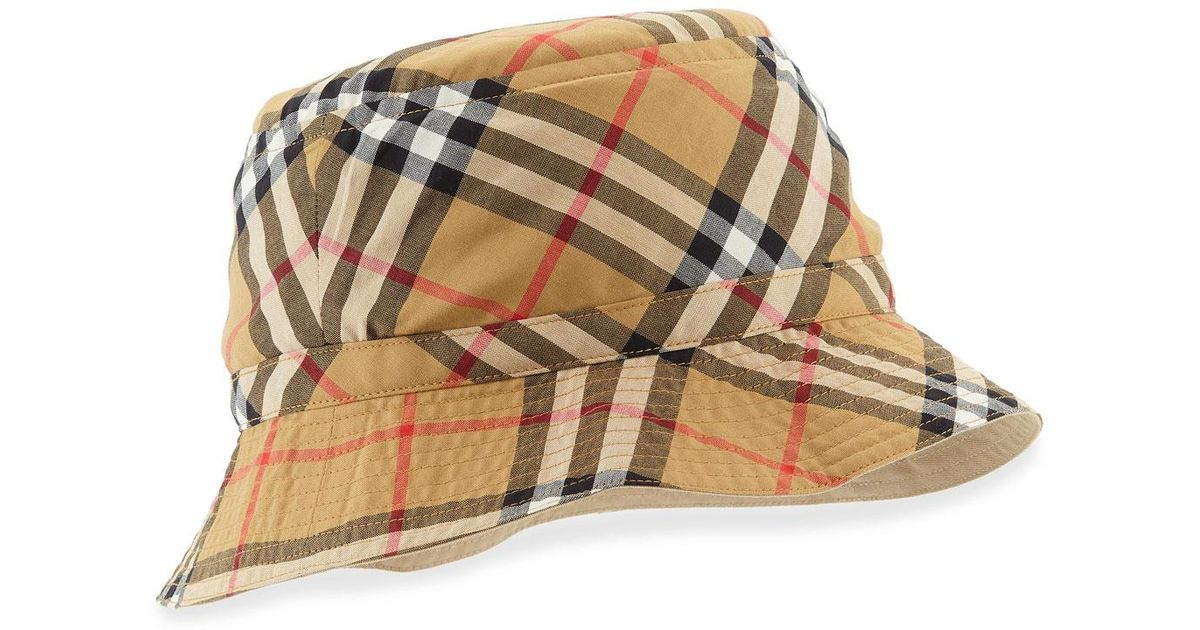 9b1936e691a0d8 Burberry Vintage Check Bucket Hat in Natural - Lyst