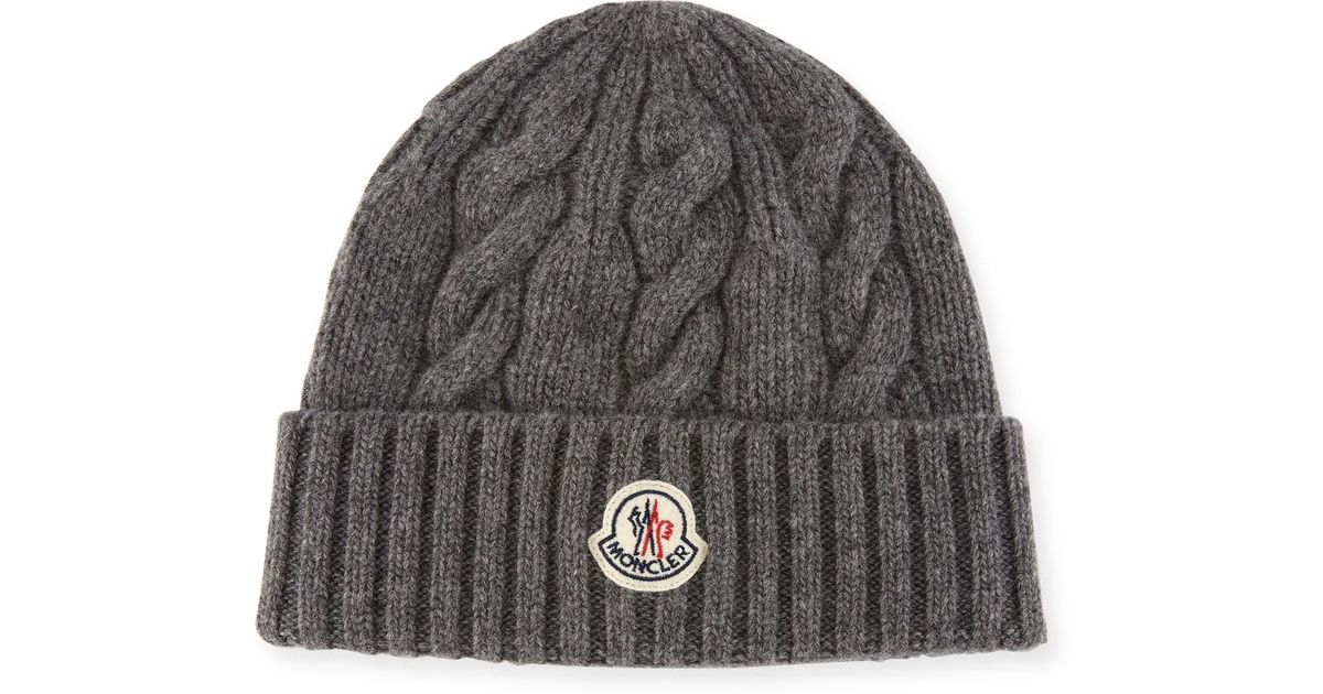 Lyst - Moncler Men s Cable-knit Wool Beanie Hat in Gray for Men 8805a16a9b3
