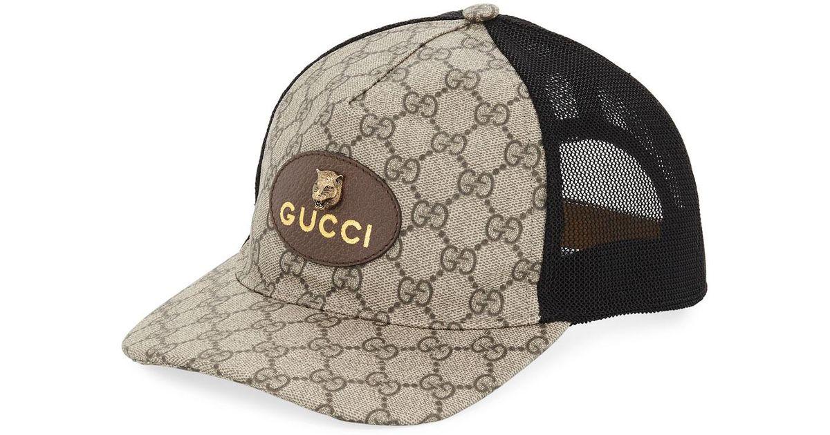 467fc546f4 Gucci GG Supreme Baseball Cap With Feline Head in Black for Men - Lyst
