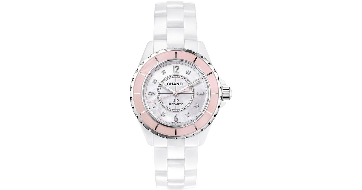 22aebfc8a4b1e Lyst Chanel J12 White 38mm Ceramic Watch With Diamonds In