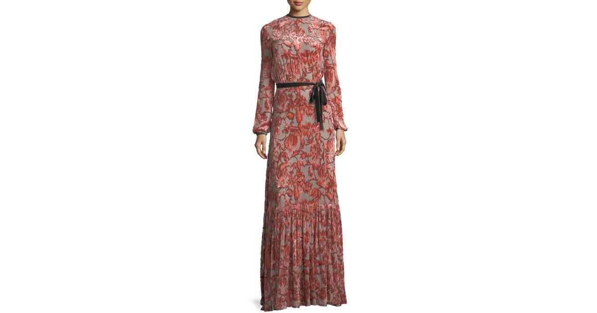 c334bf5e4df1 Lyst - Alexis Felice Velvet Burnout Maxi Dress in Red