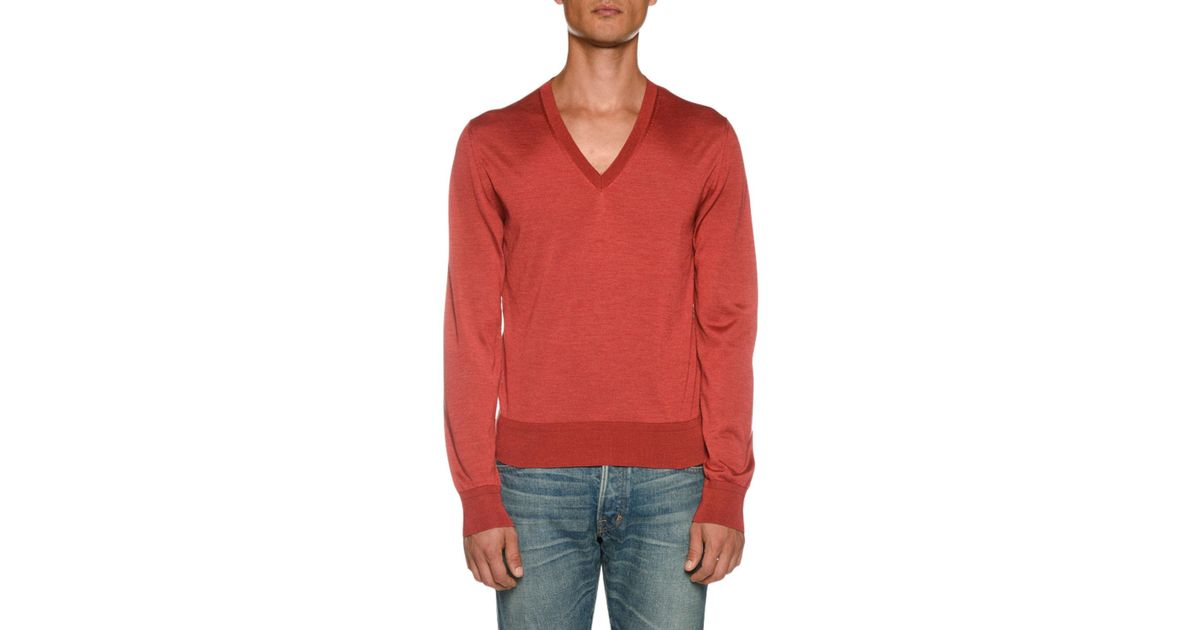 e5debd43fc98 Lyst - Tom Ford Men's Long-sleeve V Neck Shirt in Red for Men