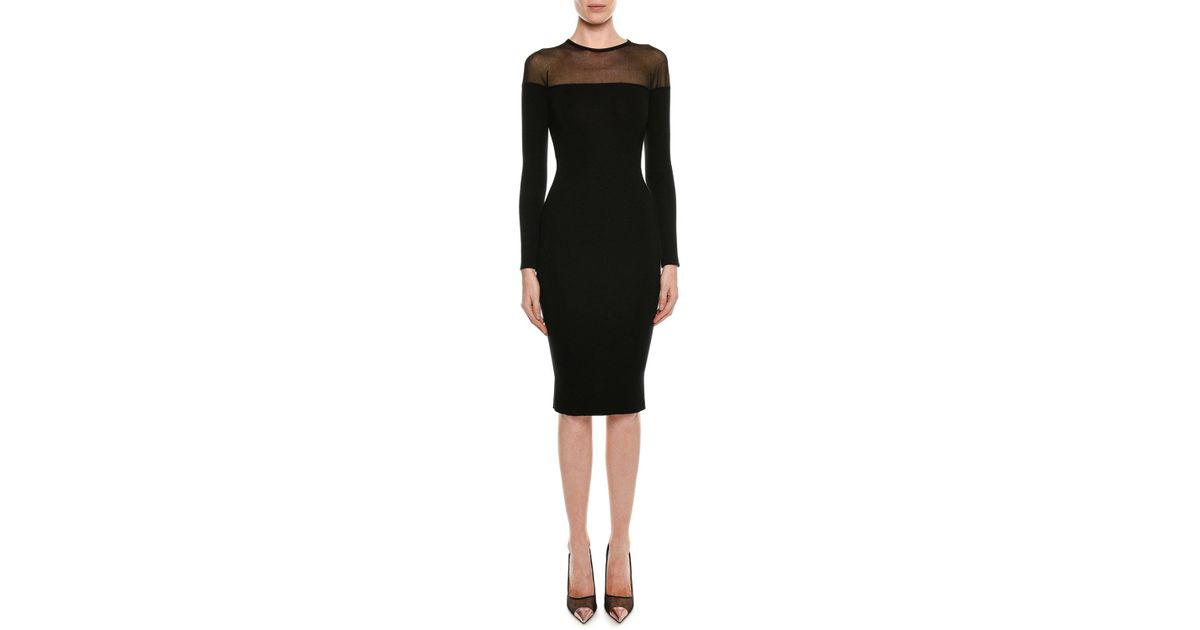 52d6cff5d5d Lyst - Tom Ford Round-neck Illusion-yoke Silk Knit Cocktail Dress in Black