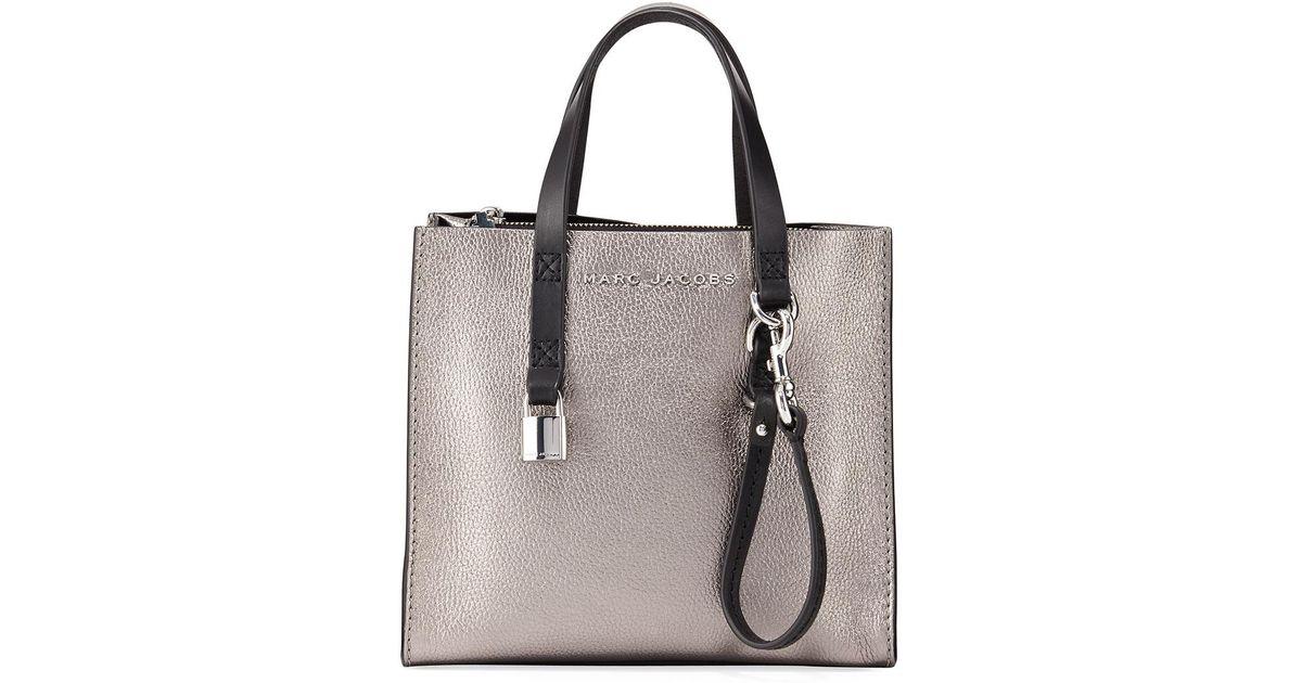 b704f6b80a2e5 Grind Shopper Tote Mini Jacobs Marc Bag Leather Lyst Metallic zqPaEU