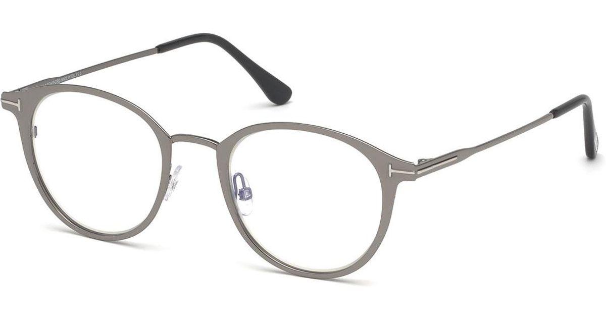 df7f4566d5 Tom Ford Men s Blue Light-blocking Oval Metal Optical Glasses in Gray for  Men - Lyst