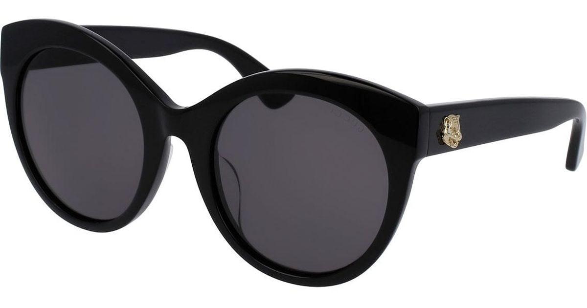 07943fa9f8e4 Gucci Monochromatic Oversized Rounded Cat-eye Sunglasses in Black - Lyst