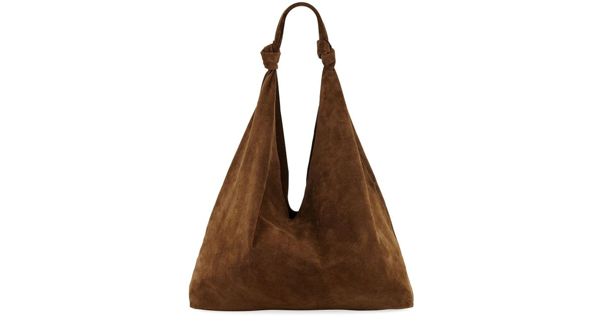 a2974e6e7ab Lyst - The Row Bindle Double-knots Suede Hobo Bag in Brown